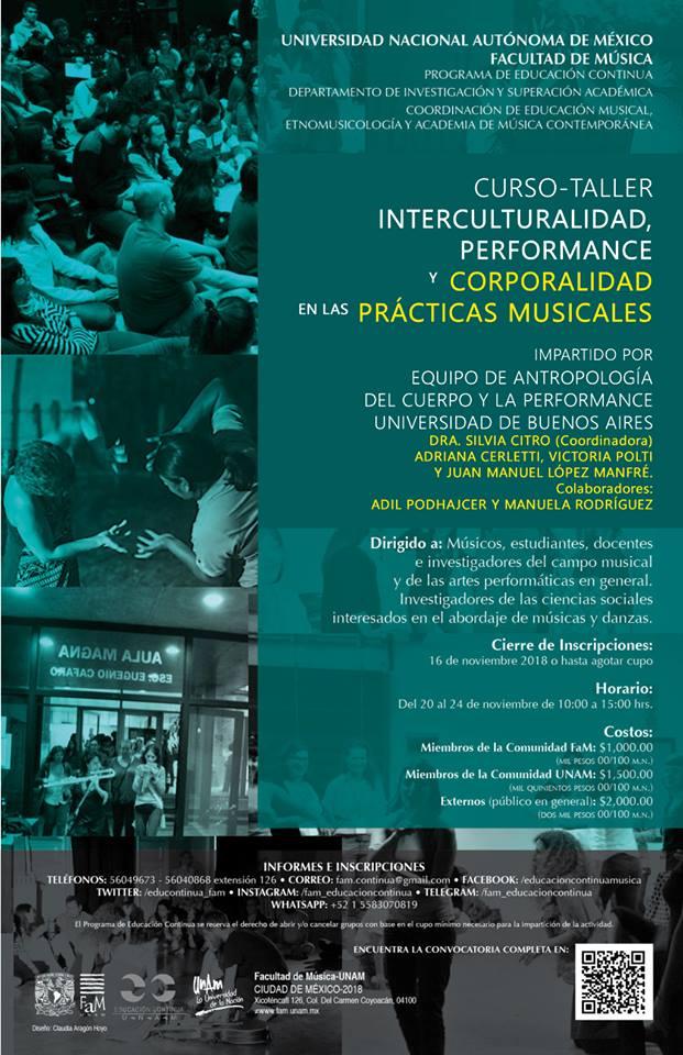 Curso-taller Interculturalidad, performance, performance y corporalidad en las prácticas musicales